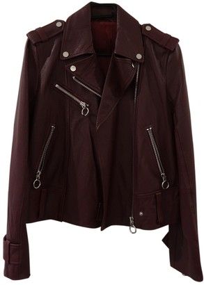 Mo&Co. \N Burgundy Leather Jacket for Women