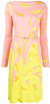 Emilio Pucci Dinamica Degrade print belted dress