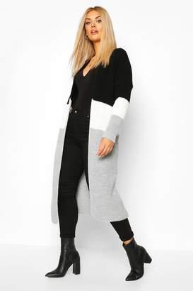 boohoo Plus Colour Block Knitted Maxi Cardigan