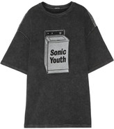 R 13 Sonic Youth Oversized Cotton-blend T-shirt - Black