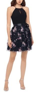 Blondie Nites Juniors' Glitter-Flower Halter Dress