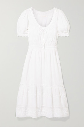 LoveShackFancy Wendy Lace-trimmed Embroidered Cotton-voile Dress - White
