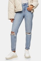 Topshop Bleach Wash Double Rip Mom Tapered Jeans
