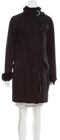 Claudie Pierlot Fur-Trimmed Knee-Length Coat