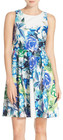 Eliza J-eliza j floral print scuba fit flare dress