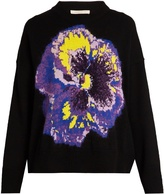 Christopher Kane Pansy-intarsia wool-blend sweater