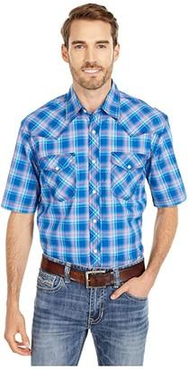 Wrangler 20X Short Sleeve Plaid Two-Pocket Snap (Blue/White) Men's Clothing