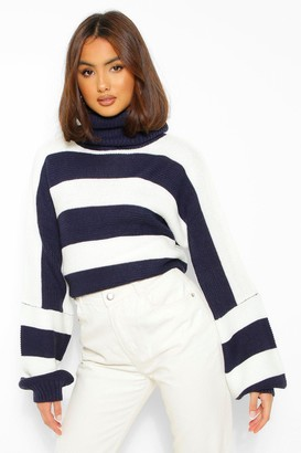 boohoo Roll Neck Striped Knitted Jumper