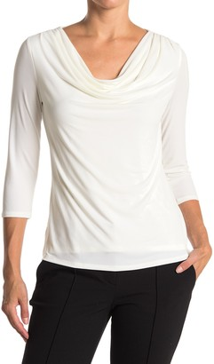 Carmen Marc Valvo Cowl Neck 3/4 Sleeve Top