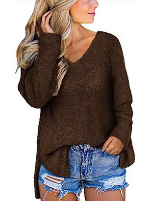 Fuzzy Sweaters for Women V Neck Long Sleeve Cozy Tops 2019 Fall Shirts Side Split M