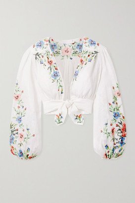 Zimmermann Juliette Cropped Tie-front Embroidered Linen Top - Ivory