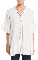 See by Chloe Short-Sleeve Voile Ruffle-Trim Tunic, White