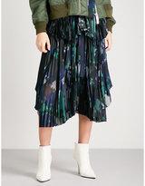 Sacai Digital camouflage-print high-rise satin and chiffon skirt