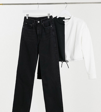 Weekday Row organic cotton slim straight leg jeans in washed black