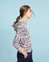 Joules Womens Marlston Print Hooded Sweatshirt in Cotton in Cream Multi Ditsy