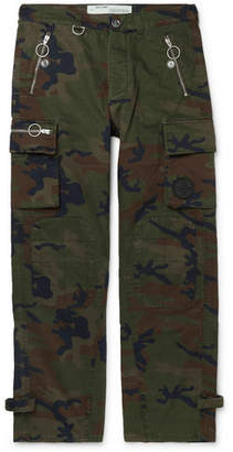 Off-White Off White Logo-Embellished Camouflage-Print Cotton-Twill Cargo Trousers