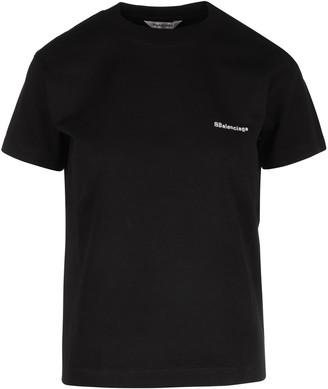 Balenciaga Logo Embroidered Crewneck T-Shirt