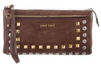 Miu Miu Studded Distressed Wristlet