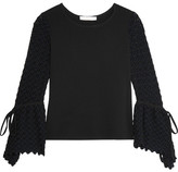 See by Chloe Crepe And Crochet-knit Top - Black