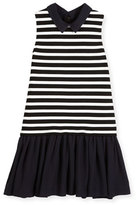 Kate Spade Sleeveless Striped Ponte & Pebbled Crepe Shift Dress, Black/White, Size 2-6