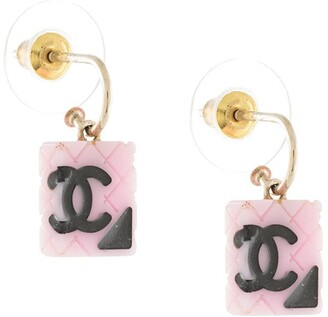 Chanel Pre Owned diamond quilted CC earrings