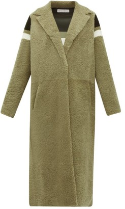 Inès & Marèchal Striped Shearling Coat - Womens - Green Multi