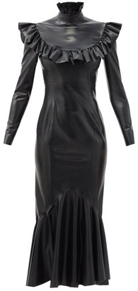 Saint Laurent Ruffled-collar Fluted-hem Latex Midi Dress - Black