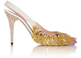 Rochas WOMEN'S FRINGED SLINGBACK PUMPS-GOLD SIZE 8.5