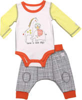 Boppy White, Yellow & Gray 'Have A Nice Day!' Bodysuit & Pants - Infant