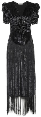 Rodarte Fringed lame midi dress