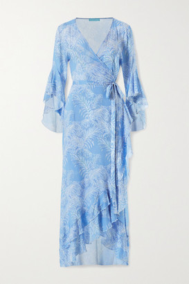 Melissa Odabash Cheryl Ruffled Printed Voile Wrap Maxi Dress - Light blue