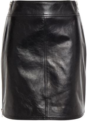 McQ Zip-detailed Leather Mini Skirt