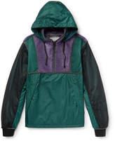 Lanvin Mesh, Shearling And Shell Half-zip Jacket - Green