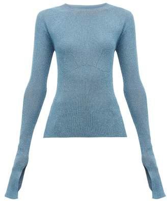 Lanvin Extra Long Sleeves Lurex Sweater - Womens - Light Blue