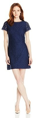 Adrianna Papell Women's Petite Short Sleeve Lace Shift Dress