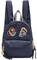 See by Chloe Navy Embroidered Satin Backpack