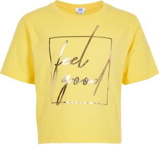River Island Girls Yellow 'Feel good' cropped T-shirt