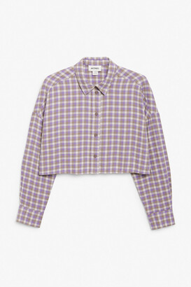 Monki Cropped flannel shirt