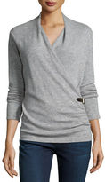 Neiman Marcus Cashmere Belted Wrap Top