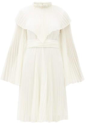 Giambattista Valli Pleated Silk Chiffon Dress - Womens - Ivory