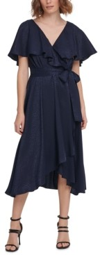 DKNY Flutter-Cape Dress With Textured Fabric