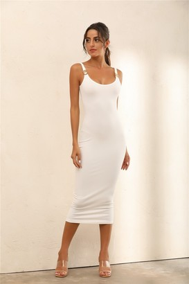 Miss Floral Criss Gold Detail Straps Ribbed Bodycon Midi Dress In White