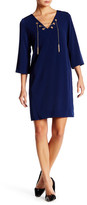 Donna Ricco 3/4 Length Sleeve Lace Up Shift Dress