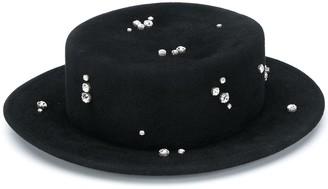 Ruslan Baginskiy Crystal-Embellished Canotier Hat