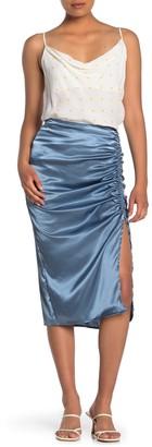 Free Press Ruched Satin Midi Skirt