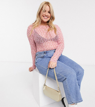 Daisy Street Plus long sleeve top in ditsy floral mesh