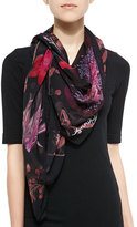 Anna Coroneo Pressed Flower Print Silk Scarf, Black/Pink
