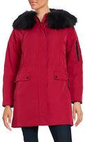 Calvin Klein Long Sleeve Faux Fur Trim Hooded Parka Jacket