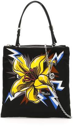 Prada Flower Print Tote Bag