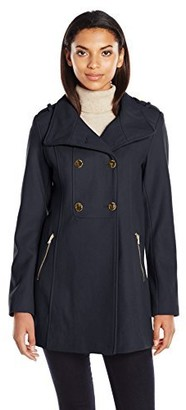 GUESS Women's Melton Wool Military A Line Coat
